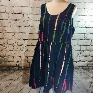 Mod Cloth Multi Color Midi Dress w/ Pockets